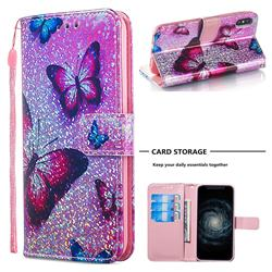 Blue Butterfly Sequins Painted Leather Wallet Case for iPhone XS / iPhone X(5.8 inch)
