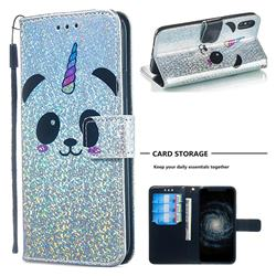 Panda Unicorn Sequins Painted Leather Wallet Case for iPhone XS / iPhone X(5.8 inch)
