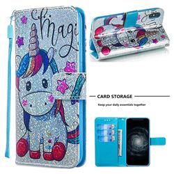 Star Unicorn Sequins Painted Leather Wallet Case for iPhone XS / iPhone X(5.8 inch)