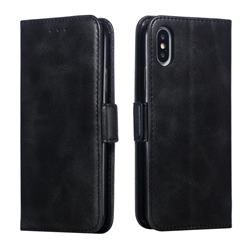 Retro Classic Calf Pattern Leather Wallet Phone Case for iPhone XS / iPhone X(5.8 inch) - Black