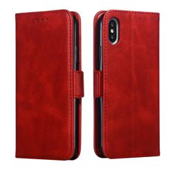 Retro Classic Calf Pattern Leather Wallet Phone Case for iPhone XS / iPhone X(5.8 inch) - Red