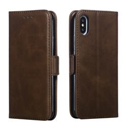 Retro Classic Calf Pattern Leather Wallet Phone Case for iPhone XS / iPhone X(5.8 inch) - Brown