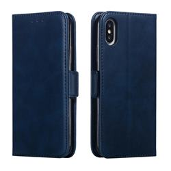 Retro Classic Calf Pattern Leather Wallet Phone Case for iPhone XS / iPhone X(5.8 inch) - Blue
