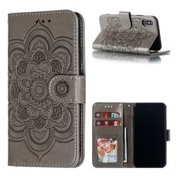 Intricate Embossing Datura Solar Leather Wallet Case for iPhone XS / iPhone X(5.8 inch) - Gray