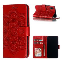 Intricate Embossing Datura Solar Leather Wallet Case for iPhone XS / iPhone X(5.8 inch) - Red