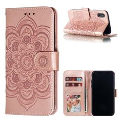 Intricate Embossing Datura Solar Leather Wallet Case for iPhone XS / iPhone X(5.8 inch) - Rose Gold