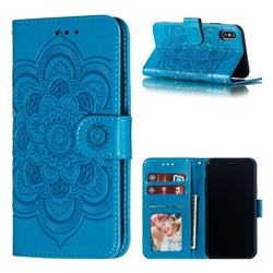Intricate Embossing Datura Solar Leather Wallet Case for iPhone XS / iPhone X(5.8 inch) - Blue