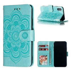 Intricate Embossing Datura Solar Leather Wallet Case for iPhone XS / iPhone X(5.8 inch) - Green