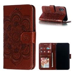 Intricate Embossing Datura Solar Leather Wallet Case for iPhone XS / iPhone X(5.8 inch) - Brown