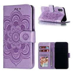 Intricate Embossing Datura Solar Leather Wallet Case for iPhone XS / iPhone X(5.8 inch) - Purple