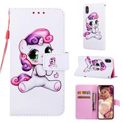 Playful Pony Matte Leather Wallet Phone Case for iPhone XS / iPhone X(5.8 inch)