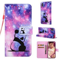 Panda Baby Matte Leather Wallet Phone Case for iPhone XS / iPhone X(5.8 inch)