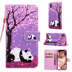 Cherry Blossom Panda Matte Leather Wallet Phone Case for iPhone XS / iPhone X(5.8 inch)