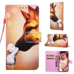 Hound Kiss Matte Leather Wallet Phone Case for iPhone XS / iPhone X(5.8 inch)