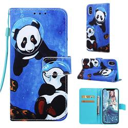 Undersea Panda Matte Leather Wallet Phone Case for iPhone XS / iPhone X(5.8 inch)