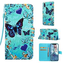Love Butterfly Matte Leather Wallet Phone Case for iPhone XS / iPhone X(5.8 inch)