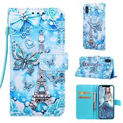 Tower Butterfly Matte Leather Wallet Phone Case for iPhone XS / iPhone X(5.8 inch)