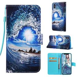 Waves and Sun Matte Leather Wallet Phone Case for iPhone XS / iPhone X(5.8 inch)