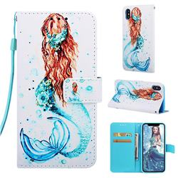 Mermaid Matte Leather Wallet Phone Case for iPhone XS / iPhone X(5.8 inch)
