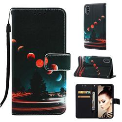 Wandering Earth Matte Leather Wallet Phone Case for iPhone XS / iPhone X(5.8 inch)