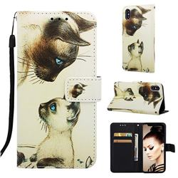 Cat Confrontation Matte Leather Wallet Phone Case for iPhone XS / iPhone X(5.8 inch)