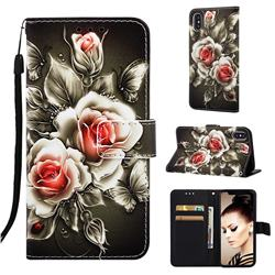 Black Rose Matte Leather Wallet Phone Case for iPhone XS / iPhone X(5.8 inch)