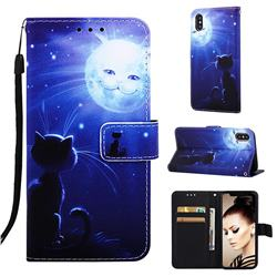 Cat and Moon Matte Leather Wallet Phone Case for iPhone XS / iPhone X(5.8 inch)