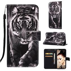 Black and White Tiger Matte Leather Wallet Phone Case for iPhone XS / iPhone X(5.8 inch)