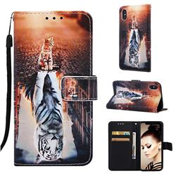 Cat and Tiger Matte Leather Wallet Phone Case for iPhone XS / iPhone X(5.8 inch)
