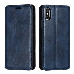 Retro Slim Magnetic Crazy Horse PU Leather Wallet Case for iPhone XS / iPhone X(5.8 inch) - Blue