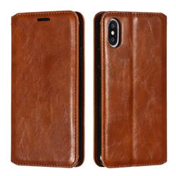 Retro Slim Magnetic Crazy Horse PU Leather Wallet Case for iPhone XS / iPhone X(5.8 inch) - Brown