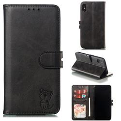 Embossing Happy Cat Leather Wallet Case for iPhone XS / iPhone X(5.8 inch) - Black