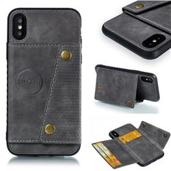 Retro Multifunction Card Slots Stand Leather Coated Phone Back Cover for iPhone XS / iPhone X(5.8 inch) - Gray