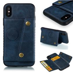 Retro Multifunction Card Slots Stand Leather Coated Phone Back Cover for iPhone XS / iPhone X(5.8 inch) - Blue
