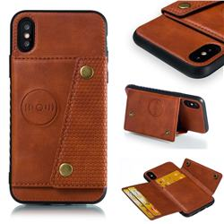 Retro Multifunction Card Slots Stand Leather Coated Phone Back Cover for iPhone XS / iPhone X(5.8 inch) - Brown