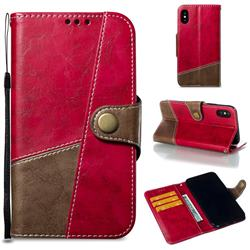Retro Magnetic Stitching Wallet Flip Cover for iPhone XS / iPhone X(5.8 inch) - Rose Red