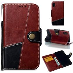 Retro Magnetic Stitching Wallet Flip Cover for iPhone XS / iPhone X(5.8 inch) - Dark Red