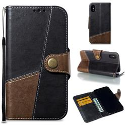 Retro Magnetic Stitching Wallet Flip Cover for iPhone XS / iPhone X(5.8 inch) - Dark Gray