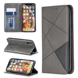 Prismatic Slim Magnetic Sucking Stitching Wallet Flip Cover for iPhone XS / iPhone X(5.8 inch) - Gray
