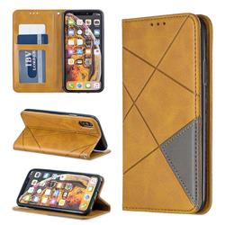 Prismatic Slim Magnetic Sucking Stitching Wallet Flip Cover for iPhone XS / iPhone X(5.8 inch) - Yellow