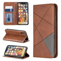 Prismatic Slim Magnetic Sucking Stitching Wallet Flip Cover for iPhone XS / iPhone X(5.8 inch) - Brown