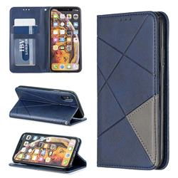 Prismatic Slim Magnetic Sucking Stitching Wallet Flip Cover for iPhone XS / iPhone X(5.8 inch) - Blue