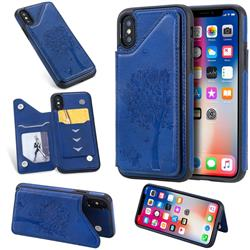 Luxury Tree and Cat Multifunction Magnetic Card Slots Stand Leather Phone Back Cover for iPhone XS / iPhone X(5.8 inch) - Blue
