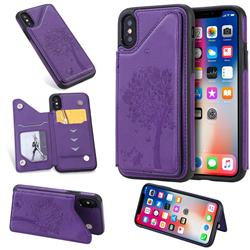 Luxury Tree and Cat Multifunction Magnetic Card Slots Stand Leather Phone Back Cover for iPhone XS / iPhone X(5.8 inch) - Purple