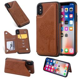 Luxury Tree and Cat Multifunction Magnetic Card Slots Stand Leather Phone Back Cover for iPhone XS / iPhone X(5.8 inch) - Brown