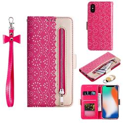 Luxury Lace Zipper Stitching Leather Phone Wallet Case for iPhone XS / iPhone X(5.8 inch) - Rose