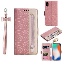 Luxury Lace Zipper Stitching Leather Phone Wallet Case for iPhone XS / iPhone X(5.8 inch) - Pink