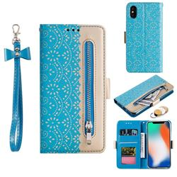 Luxury Lace Zipper Stitching Leather Phone Wallet Case for iPhone XS / iPhone X(5.8 inch) - Blue