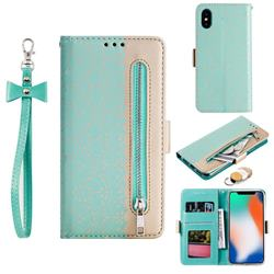 Luxury Lace Zipper Stitching Leather Phone Wallet Case for iPhone XS / iPhone X(5.8 inch) - Green