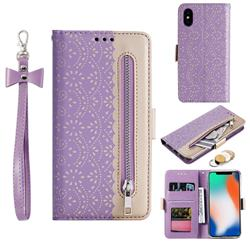 Luxury Lace Zipper Stitching Leather Phone Wallet Case for iPhone XS / iPhone X(5.8 inch) - Purple
